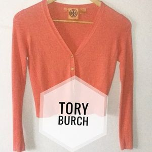 Tory Burch|Size XS V Neck Cardigan Orange/Peach